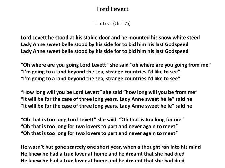 Lord Lovel (Child 75)