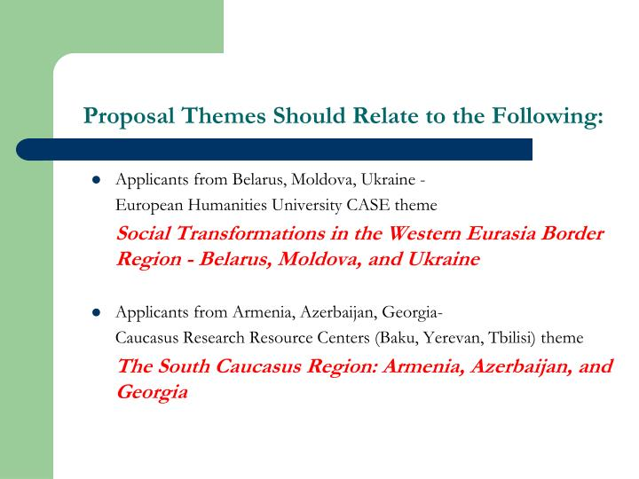Proposal Themes Should Relate to the Following: