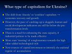 what type of capitalism for ukraine