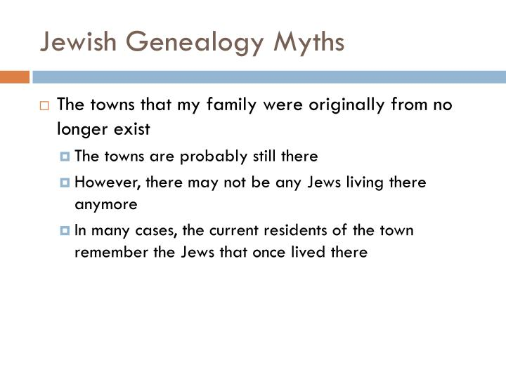 Jewish Genealogy Myths