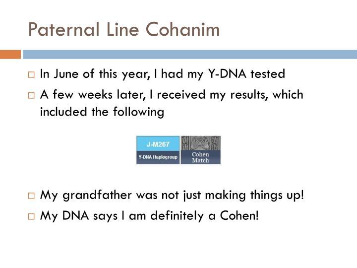 Paternal Line Cohanim