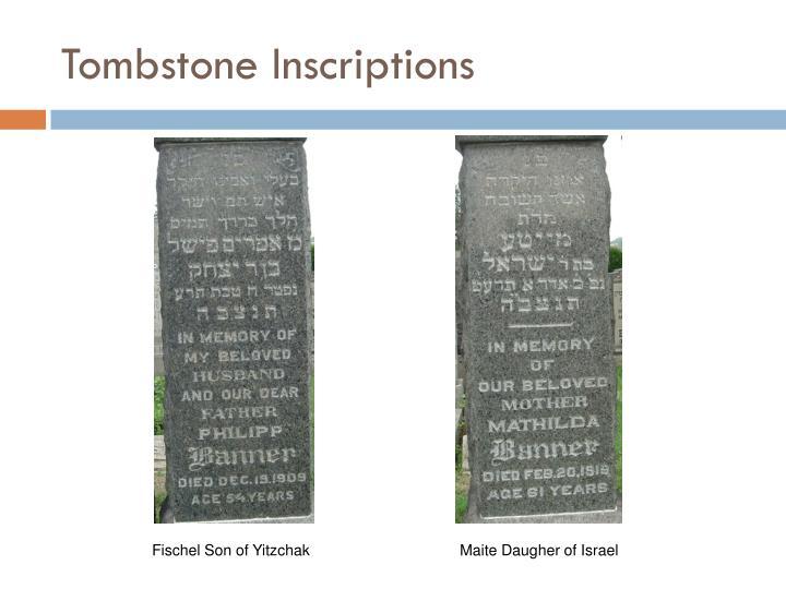 Tombstone Inscriptions