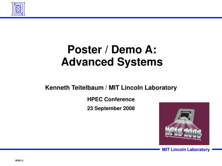 Poster demo a advanced systems