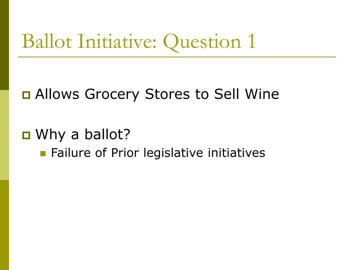 Ballot Initiative: Question 1