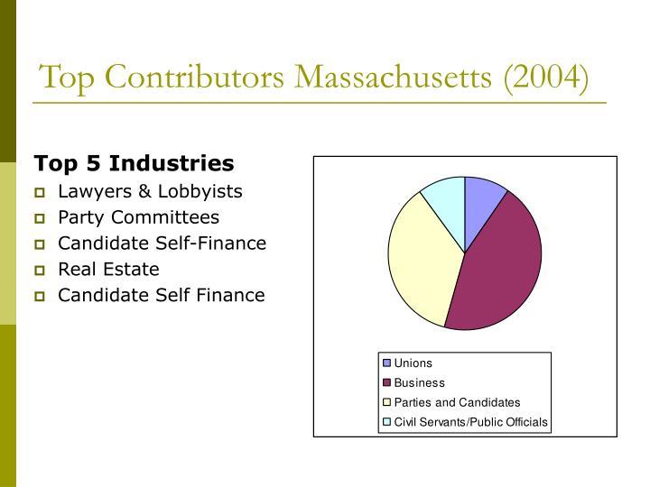 Top contributors massachusetts 2004