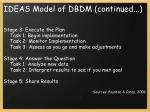 ideas model of dbdm continued