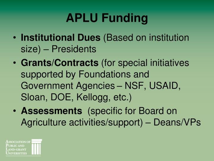 APLU Funding