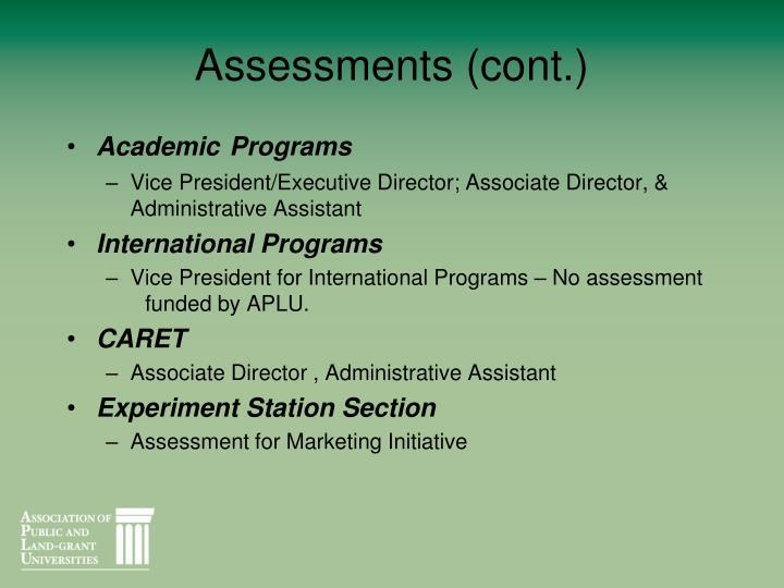 Assessments (cont.)