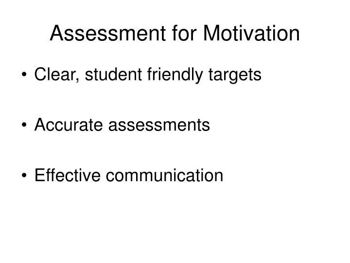 Assessment for Motivation