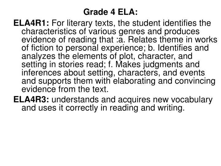 Grade 4 ELA: