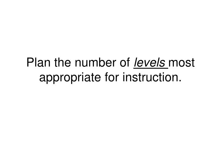 Plan the number of