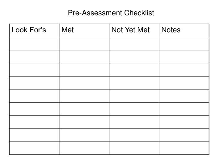 Pre-Assessment Checklist