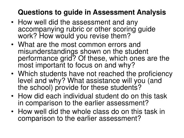Questions to guide in Assessment Analysis