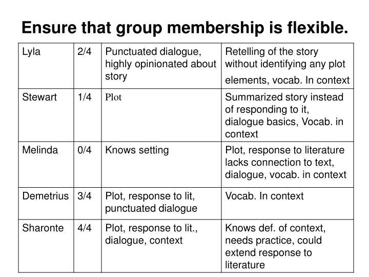 Ensure that group membership is flexible.