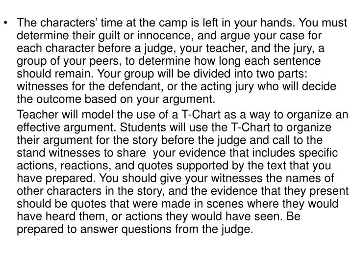 The characters' time at the camp is left in your hands. You must  determine their guilt or innocence, and argue your case for each character before a judge, your teacher, and the jury, a group of your peers, to determine how long each sentence should remain. Your group will be divided into two parts: witnesses for the defendant, or the acting jury who will decide the outcome based on your argument.