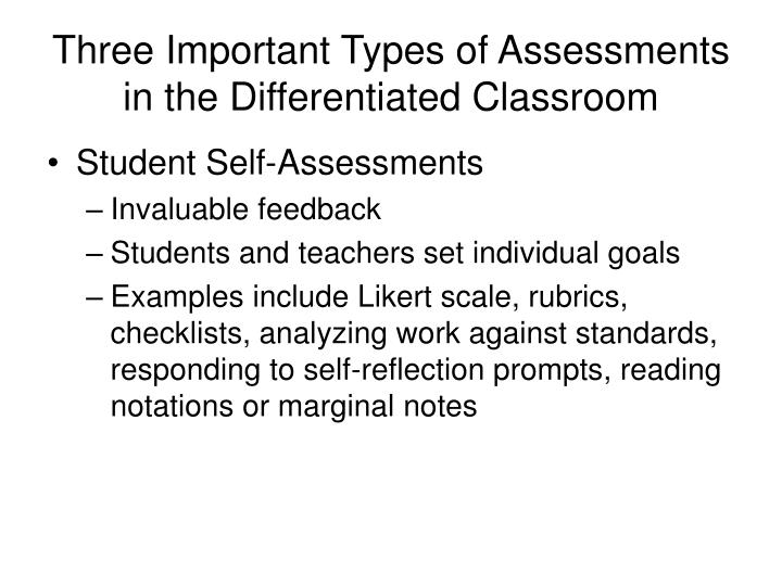 Three Important Types of Assessments in the Differentiated Classroom