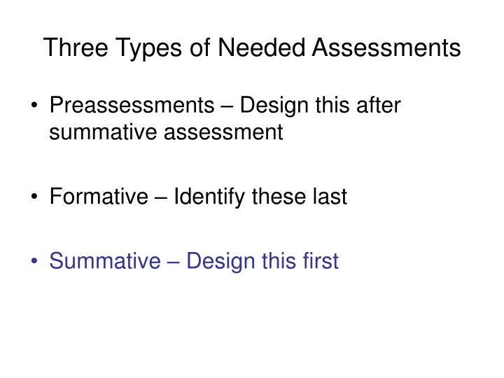 Three Types of Needed Assessments