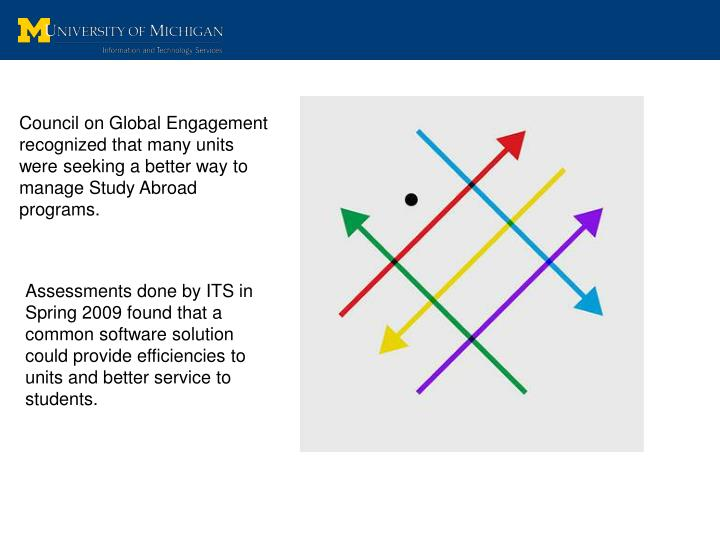 Council on Global Engagement recognized that many units were seeking a better way to manage Study Abroad programs.
