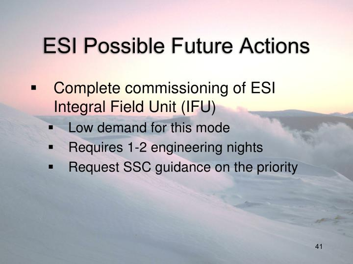ESI Possible Future Actions