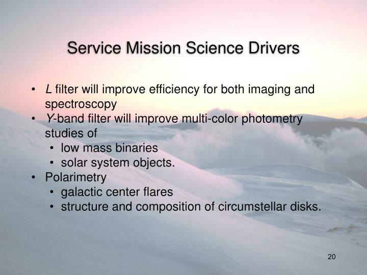 Service Mission Science Drivers