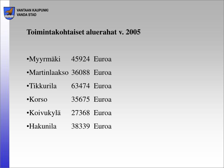 Toimintakohtaiset aluerahat v. 2005
