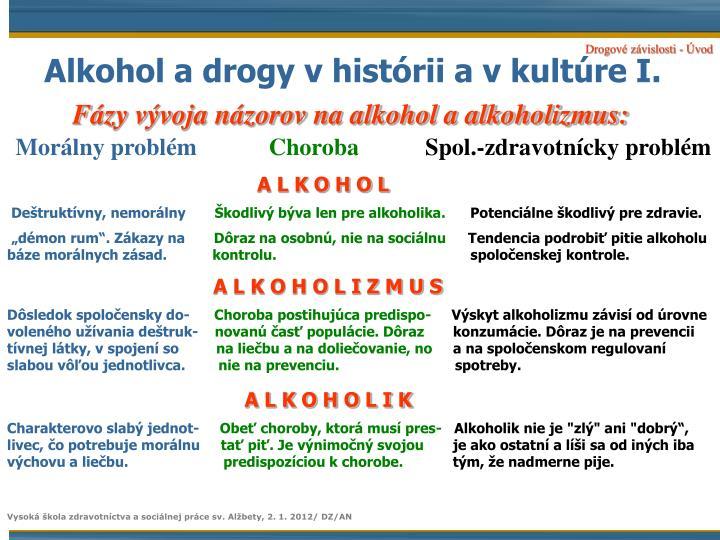 Alkohol a drogy vhistórii a vkultúre I.