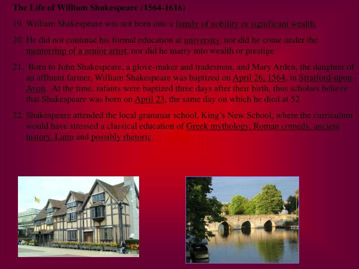 The Life of William Shakespeare (1564-1616)