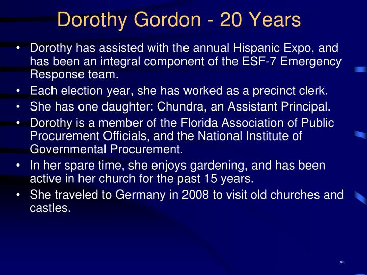 Dorothy Gordon - 20 Years