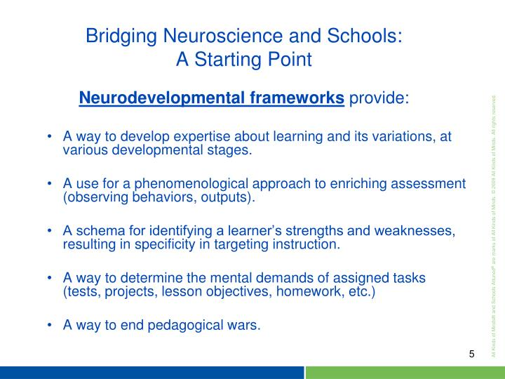Neurodevelopmental frameworks