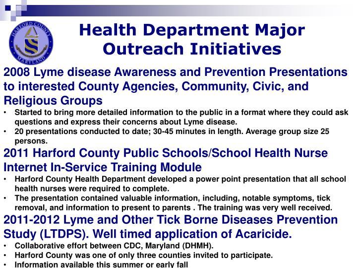 Health Department Major Outreach Initiatives