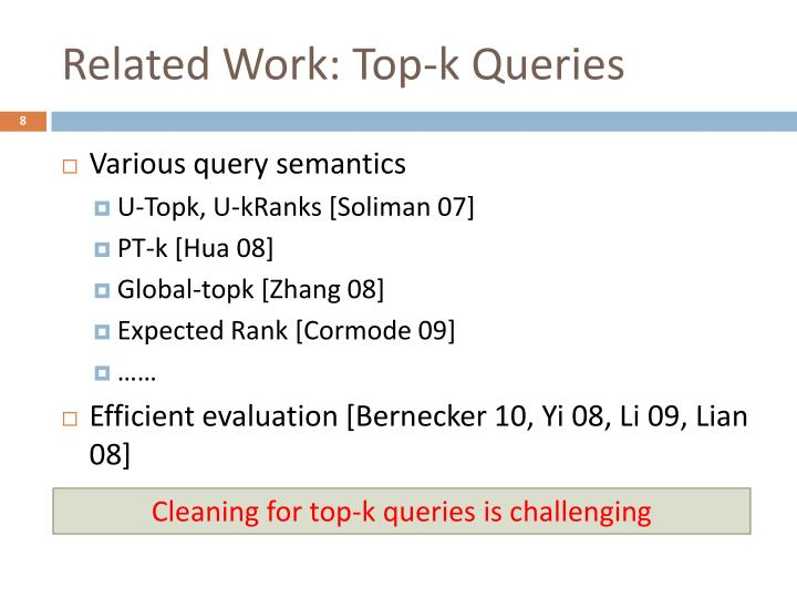 Related Work: Top-k Queries