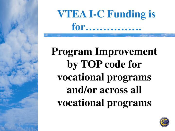 VTEA I-C Funding is for…………….