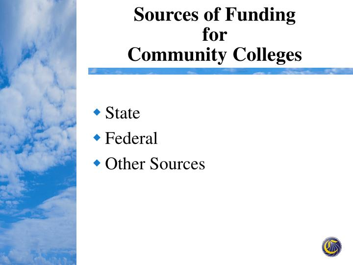 Sources of funding for community colleges