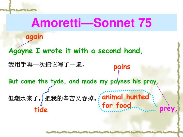 amoretti sonnet 79 abstract One day i wrote her name upon the strand (sonnet 75) by edmund spenser home / poetry / one day i wrote her name upon the strand (sonnet 75) / summary / lines 1-8.
