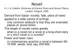 novel in j a cuddon dictionary of literary terms and literary theory london penguin 1999