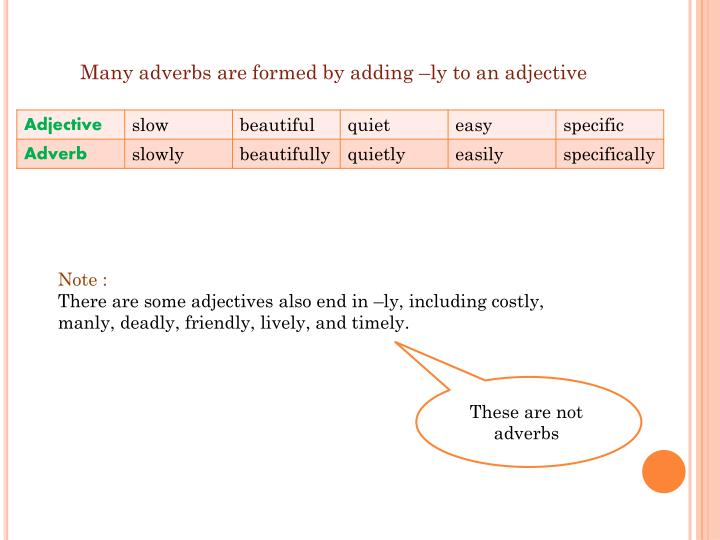 Many adverbs are formed by adding –ly to an adjective