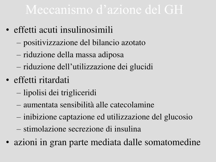 Meccanismo d'azione del GH