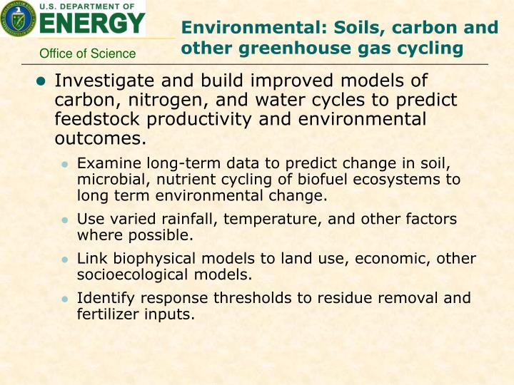 Environmental: Soils, carbon and other greenhouse gas cycling