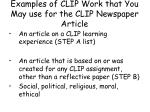 examples of clip work that you may use for the clip newspaper article