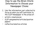 how to use the brain storm information to choose your newspaper items