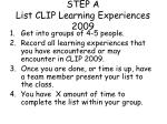 step a list clip learning experiences 2009