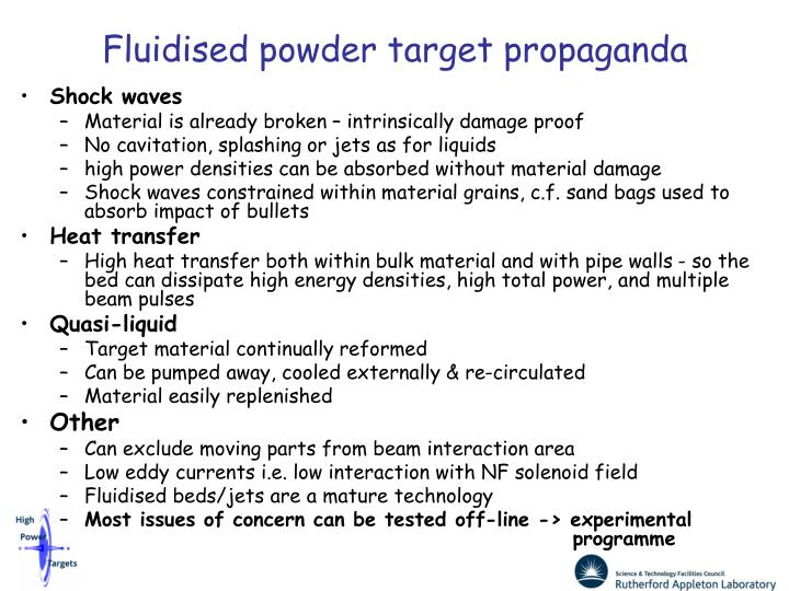 Fluidised powder target propaganda