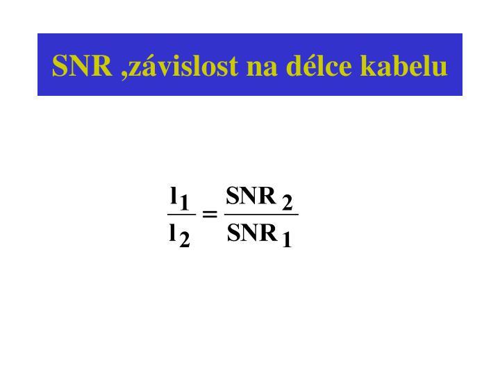 SNR ,závislost na délce kabelu