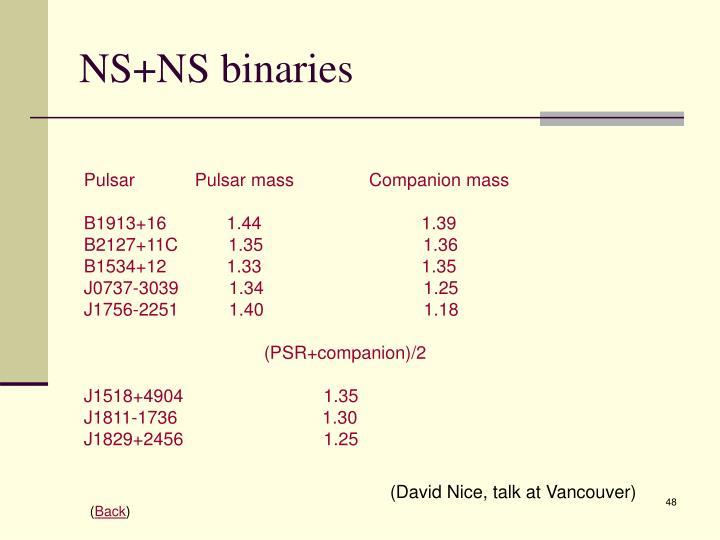 NS+NS binaries