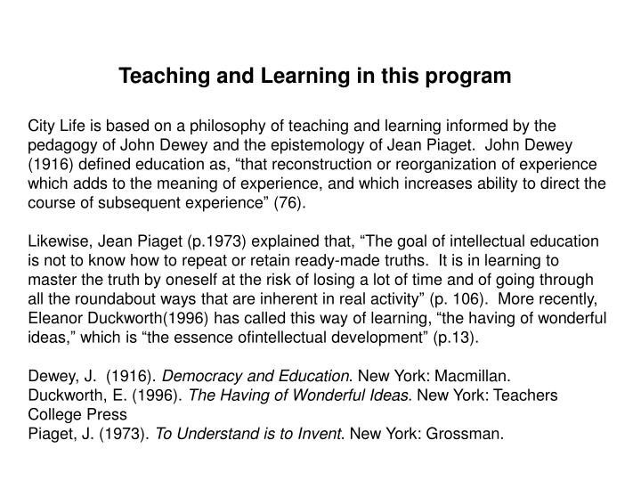 Teaching and Learning in this program