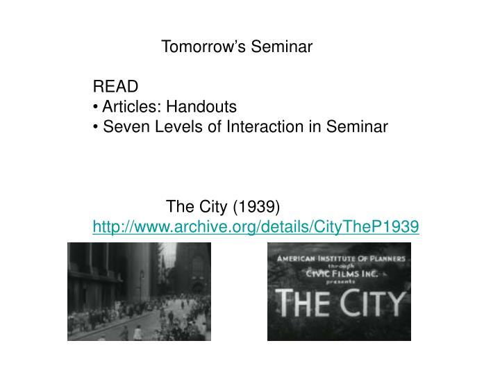 Tomorrow's Seminar