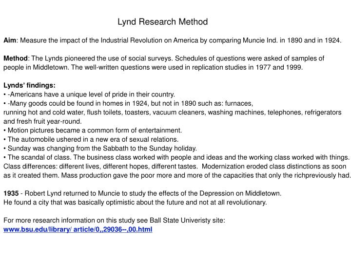 Lynd Research Method