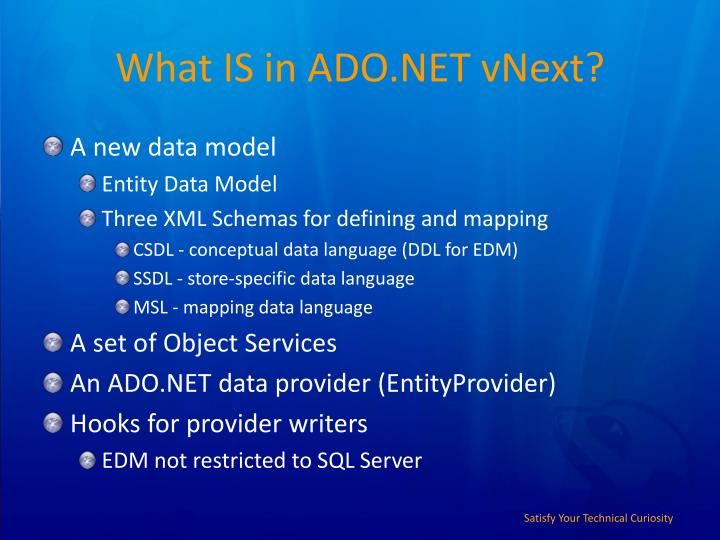 What IS in ADO.NET vNext?