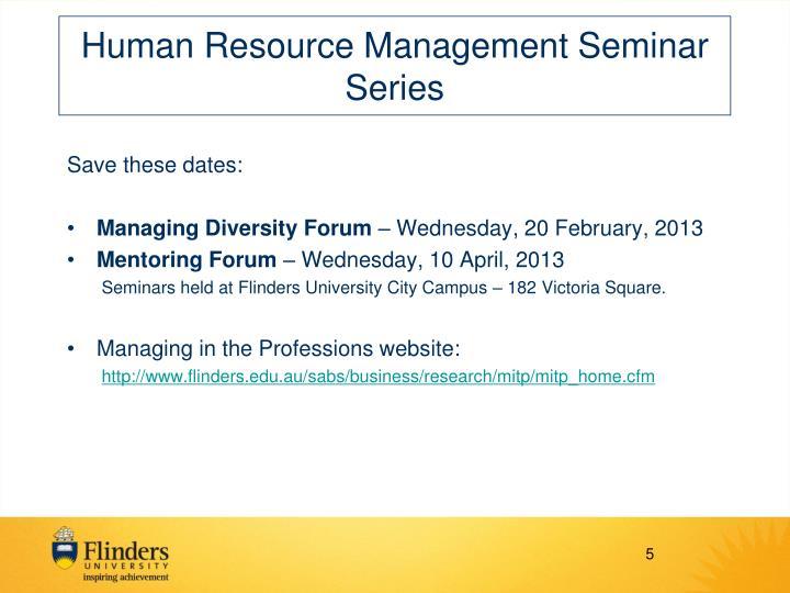 Human Resource Management Seminar Series
