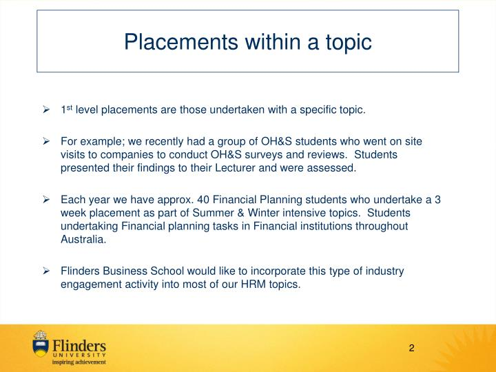 Placements within a topic